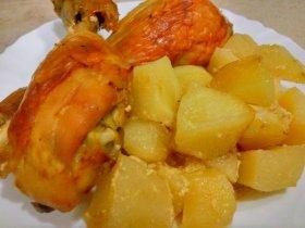 Куриные ножки с картофелем в духовке