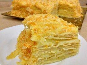 """Торт """"Наполеон"""" с заварным кремом из слоеного теста"""