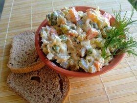 Оливье из запеченных овощей с мясом